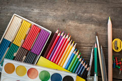 Card and crayons Stock Images