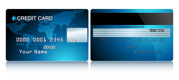 Card credit. Blue card credit, this illustration may be usefull as designer work Stock Image