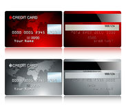 Card credit. Red & silver, this illustration may be usefull as designer work Stock Photo