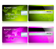 Card credit. Set green and pink, this illustration may be useful as designer work Stock Image