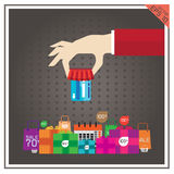 Card credit ATM vector illustration set shopping sale Royalty Free Stock Images