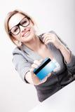 card credit holding new woman Στοκ εικόνες με δικαίωμα ελεύθερης χρήσης