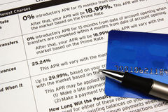 Card on Credit Terms. A credit card and pen on top of credit terms Royalty Free Stock Photography