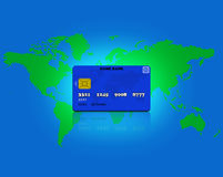 Card credit and world map. The card credit is available anywhere Royalty Free Stock Photos