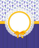 Card with crocus flowers on combined cloth. Card with crocuses and frame on combined background Royalty Free Stock Image