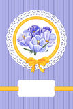 Card with crocus flowers. Card with crocuses and frame on blue background Stock Photography