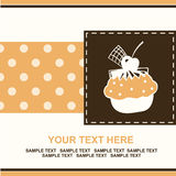 Card with cup cake. Royalty Free Stock Images