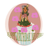 Card with cup cake. vector illustration royalty free illustration