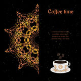 Card with cup of coffee. Ornate eastern round elements vector illustration