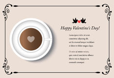 Card with cup of coffee on Valentine`s Day Royalty Free Stock Photo