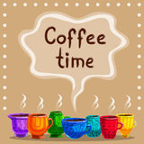 Card with a cup of hot coffee Royalty Free Stock Images