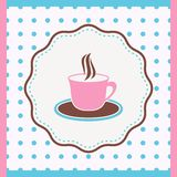 Card with cup. Vintage card with cup of coffee or tea Royalty Free Stock Photo