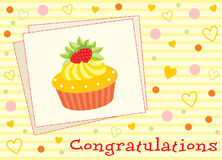 Card with a cupcake Royalty Free Stock Images