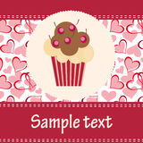 Card with a cupcake.  Royalty Free Stock Photo