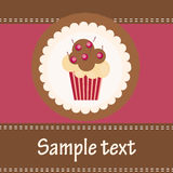 Card with a cupcake.  Stock Photo