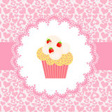 Card with a cupcake.  Stock Image
