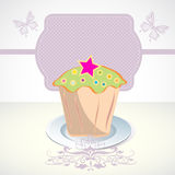 Card with cupcake and butterfly. And label Royalty Free Stock Image
