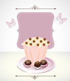 Card with cupcake and chocolate. And label Royalty Free Stock Photography