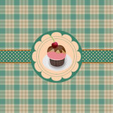 Card with cupcake. Festive blank postcards with cake Royalty Free Stock Photos