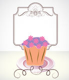 Card with cupcake and flowers. And place for text Royalty Free Stock Images