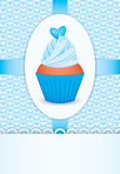 Card with cupcake and heart Royalty Free Stock Photos