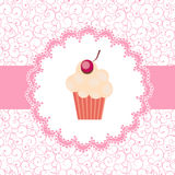 Card with a cupcake.  illustration Stock Photos