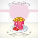 Card with cupcake and strawberry. And label Royalty Free Stock Photo