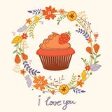 Card with cupcake and wreath Stock Image