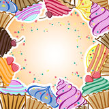 Card with cupcakes Royalty Free Stock Photo