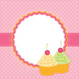 Card with cupcakes. Vector illustration Stock Photo