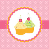 Card with cupcakes. Vector illustration Royalty Free Stock Photography