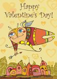 Card with cupid. Valentine's day. Vector card with cupid Royalty Free Stock Images