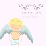 Card with cupid to Valentine Day Stock Images
