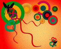 Card with cupids. Abstract colored card with cupid shapes and colored circles Stock Photo