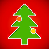 Card with cut out christmas tree with baubles Stock Photo