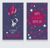 Card with cute astronaut and stars in space for birthday party in cosmic style Stock Images