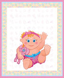Card of cute baby girl. Royalty Free Stock Images