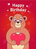 Card with a cute bear holding a heart on a red background. stock illustration