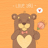 Card with Cute Bear Stock Photo