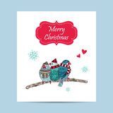 card with cute birds warm dressed in winter season Stock Photo