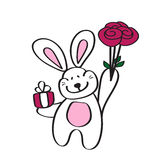 Card with a cute Bunny, bouquet of roses Royalty Free Stock Image