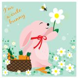 Card with cute bunny with flower and basket with carrots. EPS 10 stock illustration