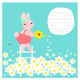 Card with cute bunny watering flowers. EPS 10 stock illustration