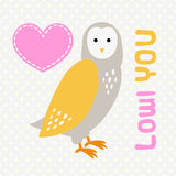 Card with cute cartoon owl and heart. Stock Image