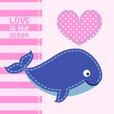 Card with cute cartoon whale in patchwork style. Royalty Free Stock Image