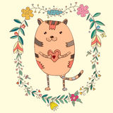 Card with cute cat in decorative floral elements. Cute cat in decorative floral elements vector illustration