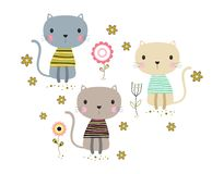 Card with cute cats. And flowers, happy cartoon animals on floral background, illustration in scandinavian style royalty free illustration