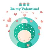 Card with cute child for Valentines day. Cute card with funny character. Vector invitation for Valentines day royalty free illustration