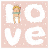 Card for with cute cupids Stock Photography