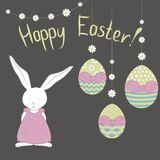 Card with cute Easter Bunny- girl, camomile garland and easter colorful eggs. vector illustration